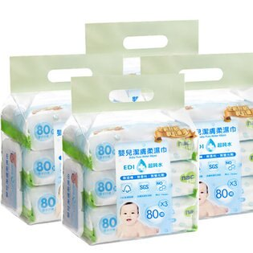 【奇買親子購物網】NacNacEDI超純水嬰兒潔膚柔濕巾80抽(12入)