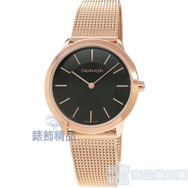 【錶飾精品】CalvinKleinCK手錶K3M2262Y極簡時尚35mm黑面玫瑰金米蘭錶帶女錶