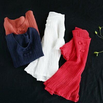 短袖T恤打底衫-復古盤扣褶皺純色女上衣4色73sj96【獨家進口】【米蘭精品】