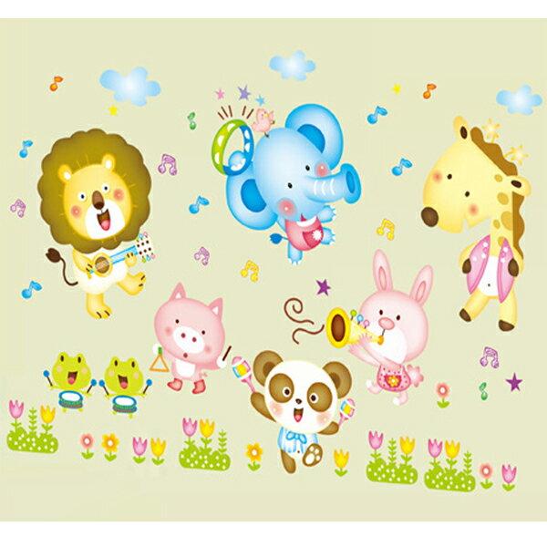 BO雜貨【YV1636-1】新款壁貼無痕創意壁貼磁磚貼可愛歡樂長頸鹿兔兔ABC1015