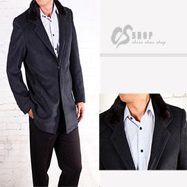 【CS衣舖 】韓風高質感 隱藏式排扣 水貂毛領 羊毛大衣 15150
