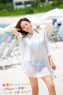 [瑪嘉妮Majani] 日系中大尺碼泳衣泳裝配件 -大尺碼 超寬鬆 比基尼外罩衫 特429 bs-186