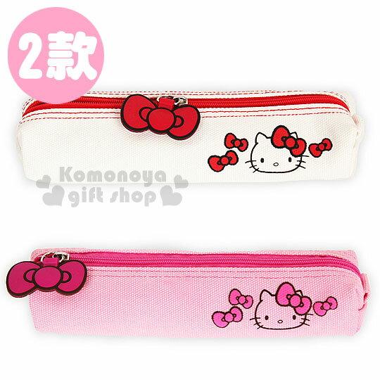 〔小禮堂韓國館〕Hello Kitty 帆布拉鍊筆袋《2款.大臉.蝴蝶結》造型拉鍊