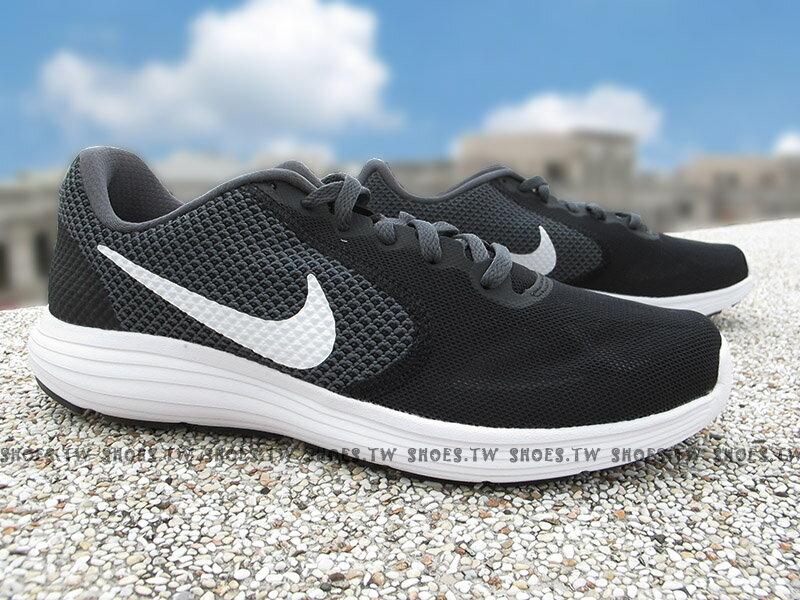 Shoestw【819303-019】NIKE REVOLUTION 3 慢跑鞋 黑灰 白勾 網布 女款