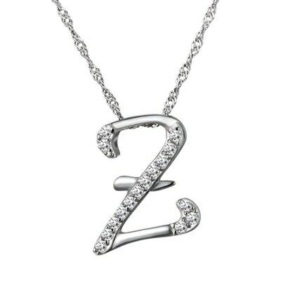 925純銀項鍊 鑲鑽吊墜~Z英文字母 簡約生日情人節 女飾品73dj35~ ~~米蘭 ~
