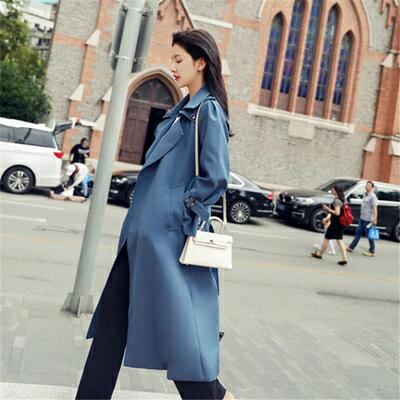 ★風衣外套長款大衣-藍色綁帶簡約百搭女外套73ue11【獨家進口】【米蘭精品】