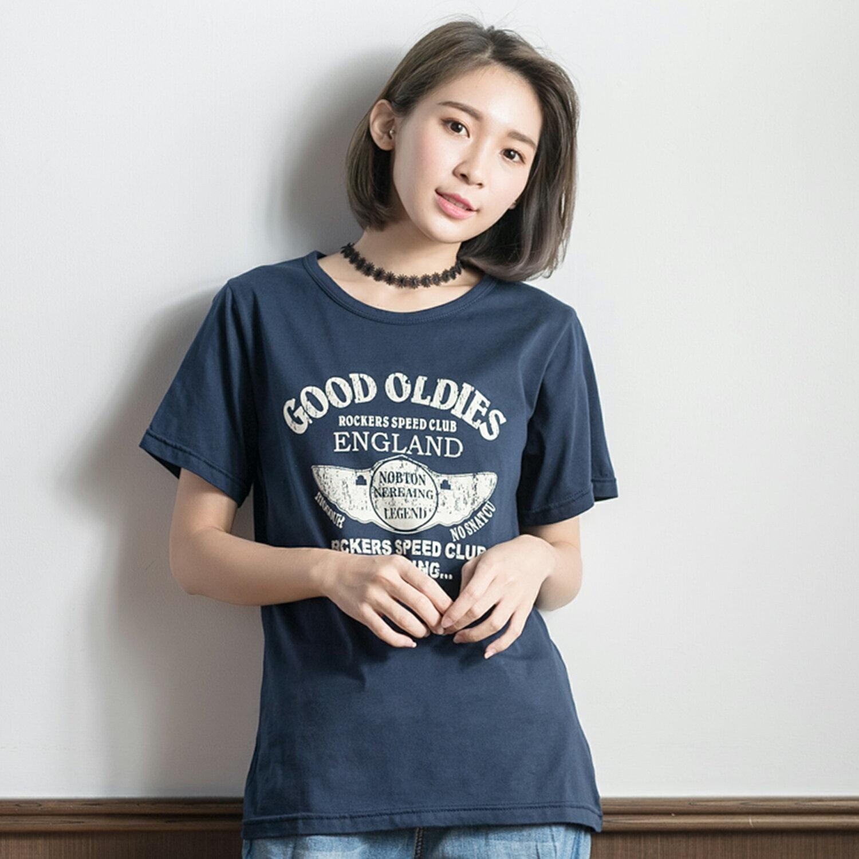 短袖T恤--美式風格英文印圖清爽舒適短袖上衣(藍.紫XL-5L)-T210眼圈熊中大尺碼 1