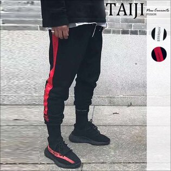 TAIJI:大尺碼潮流棉褲‧側邊刷線英字印花休閒縮口褲‧二色‧加大尺碼【NTJBX222】-TAIJI