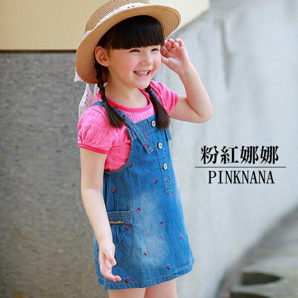 PINKNANA童裝小童兩件式套裝棉T恤+牛仔吊帶裙S31522