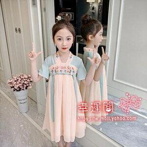 女童漢服 兒童漢服女夏季中國風小童古裝超仙女童夏裝小女孩旗袍唐裝洋裝 - 限時優惠好康折扣