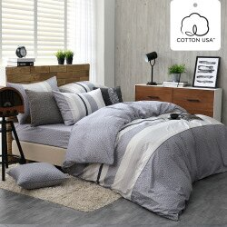 床包被套組 四件式雙人薄被套床包組/亞特森灰/美國棉授權品牌[鴻宇]台灣製2030