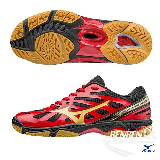 美津濃 MIZUNO 男排球鞋 Wave Hurricane 3 (紅/金) 避震排球鞋 V1GA174007【 胖媛的店 】