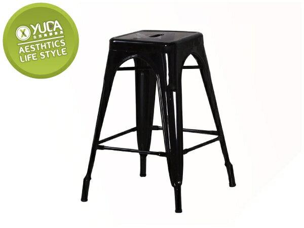 【YUDA】工業風 哈利 黑色 中 吧檯椅/餐椅/休閒椅/吧椅 J8F 489-15