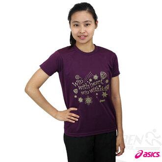 ASICS亞瑟士 女花漾排球短袖T恤(紫/S) 吸濕排汗