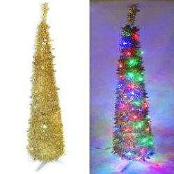 『心可樂活』6尺/6呎(180cm) 彈簧摺疊金色哈利葉瘦型鉛筆樹聖誕樹 (+LED100燈四彩光一串)(本島免運費)
