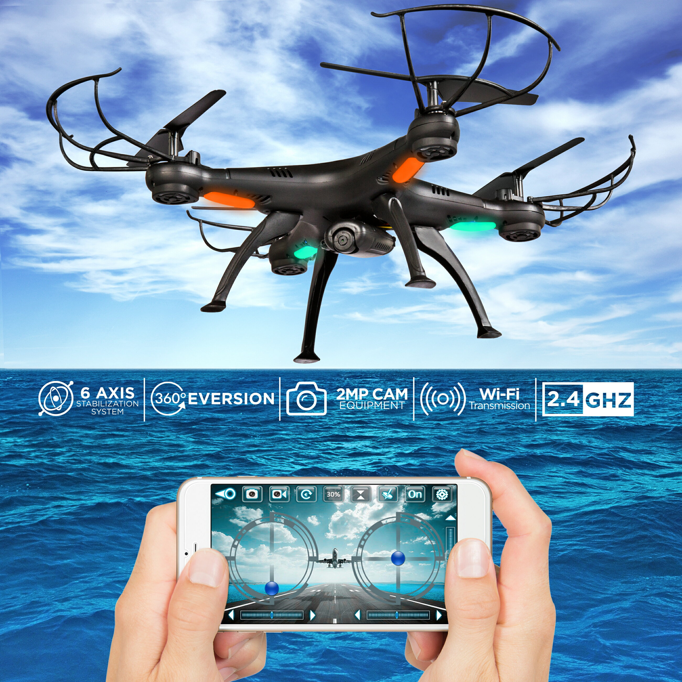 Drone Altitude Hold 2.4G 6-Axis FPV 720P HD Live Video WIFI Camera RC Voice Command Quadcopter, 2 Batteries & Power Bank 0
