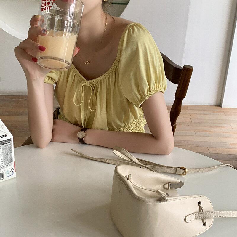 設計感大圓領短袖T恤女2021夏韓版甜美收腰短款上衣