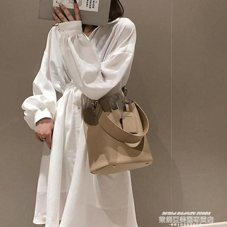 水桶包女新款時尚寬帶素色簡約大容量水桶包韓版港風側背斜背包【89折特賣】