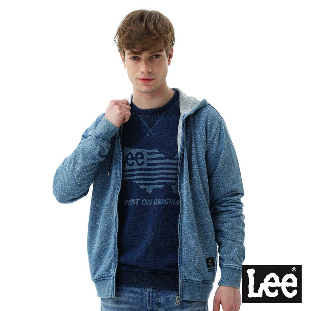 Lee 長袖連帽開襟外套 男款 藍