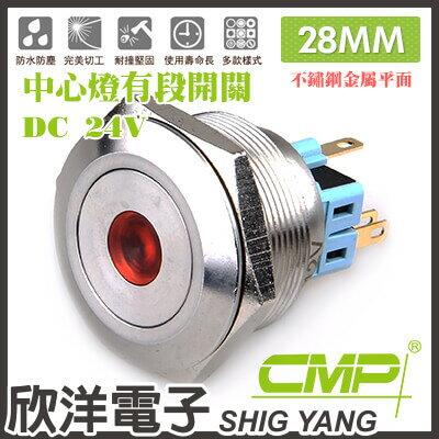 ※欣洋電子※28mm不鏽鋼金屬平面中心燈有段開關DC24VS2802B-24V藍、綠、紅、白、橙五色光自由選購CMP西普