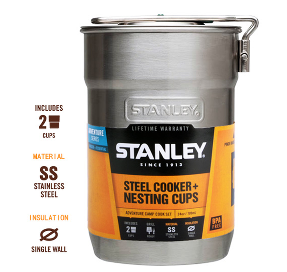 ├登山樂┤美國Stanley冒險系列露營套鍋組0.7L不鏽鋼原色(內含2綠塑杯)#10-01290-008