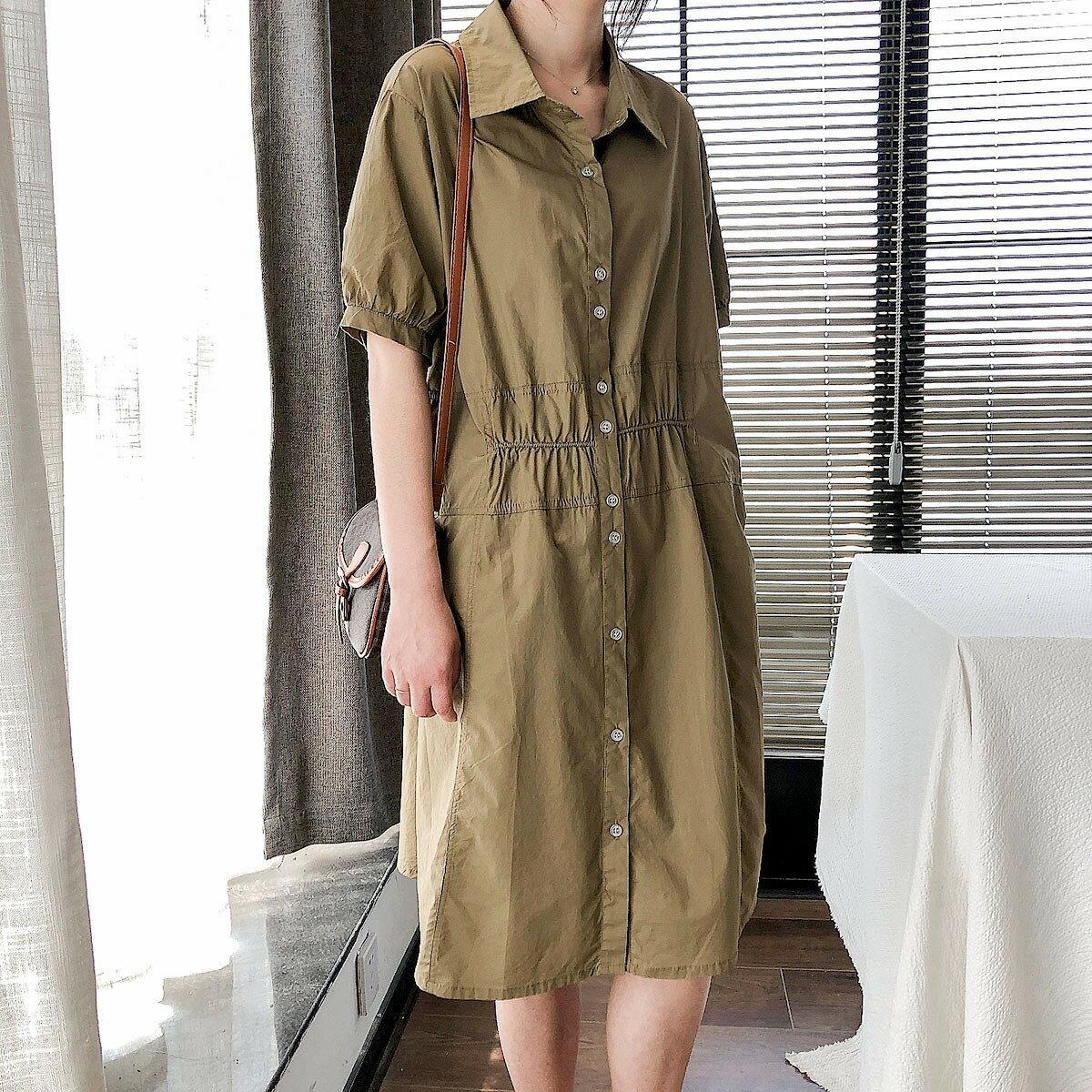 夏季新款韓版寬鬆抽褶顯瘦減齡翻領中長款襯衫裙潮