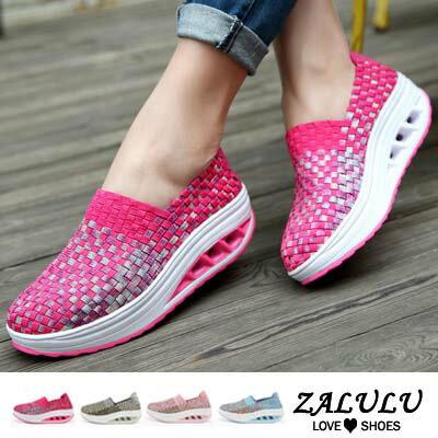 ZALULU愛鞋館 HD305 預購款 獨特彩金編織款輕盈氣墊耐走遙遙鞋-粉/月色/玫紅/灰綠-36-40