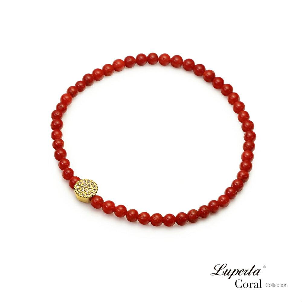 大東山珠寶 富貴永恆 頂級天然全紅珊瑚手鍊 3-4mm 3