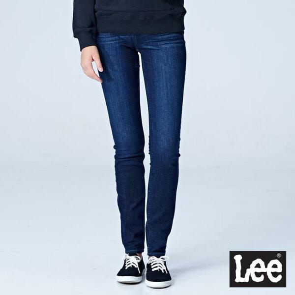 Lee418中腰緊身窄管牛仔褲RG-深藍色洗水