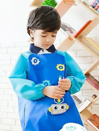 Kocotree◆可愛機器人卡通造型防水耐髒環保綁帶罩衣畫畫衣-深藍