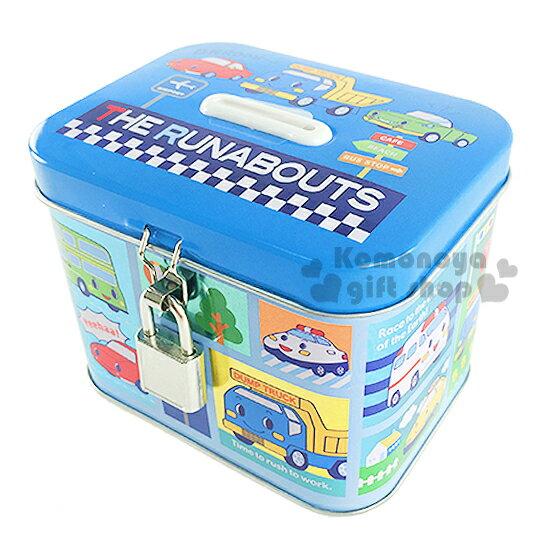 〔小禮堂〕RB工程車 附鎖鐵製存錢筒《藍.多汽車.指示牌》還可當擺飾