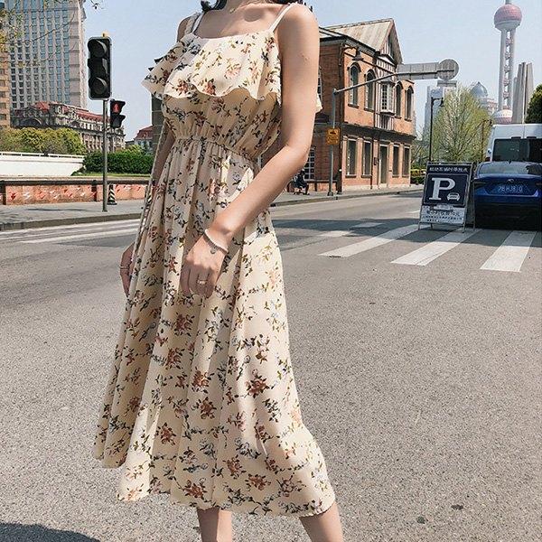 細肩帶洋裝碎花荷葉邊鬆緊腰吊帶裙細肩帶洋裝連身裙【NDF6432】BOBI0503