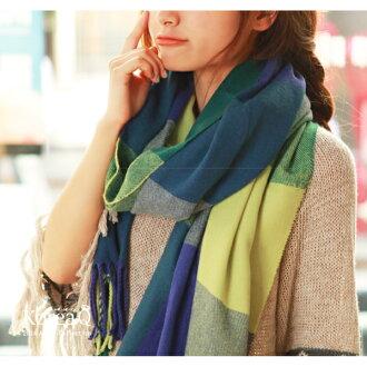 圍巾 韓系綠紫格紋流蘇披肩圍巾(預+現) Korea Q【14100044】