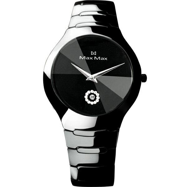 Max Max專屬陶瓷錶MAS5070-B1耀光類鑽切割鏡面陶瓷腕錶/黑面38mm