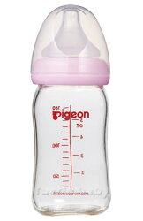 【淘氣寶寶】貝親 PIGEON 寬口母乳實感玻璃奶瓶160ml【粉色】【保證原廠公司貨】