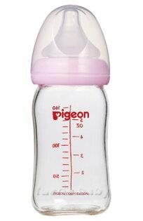 【淘氣寶寶】貝親PIGEON寬口母乳實感玻璃奶瓶160ml【粉色】【保證原廠公司貨】