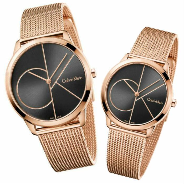CK 卡文克萊 經典系列 ( K3M22621+K3M21621 ) 玫瑰金米蘭時尚腕錶  /  黑面40+35mm - 限時優惠好康折扣