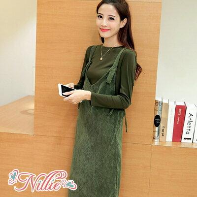 Nillie‧低領側邊開衩吊帶連身裙1108(卡其綠)【N89123】