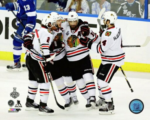 Duncan Keith Jonathan Toews Patrick Sharp & Niklas Hjalmarsson Goal Celebration Game 5 of the 2015 Stanley Cup Finals Photo Print (16 x 20) eef03fb4b166a35f407352b45b468067