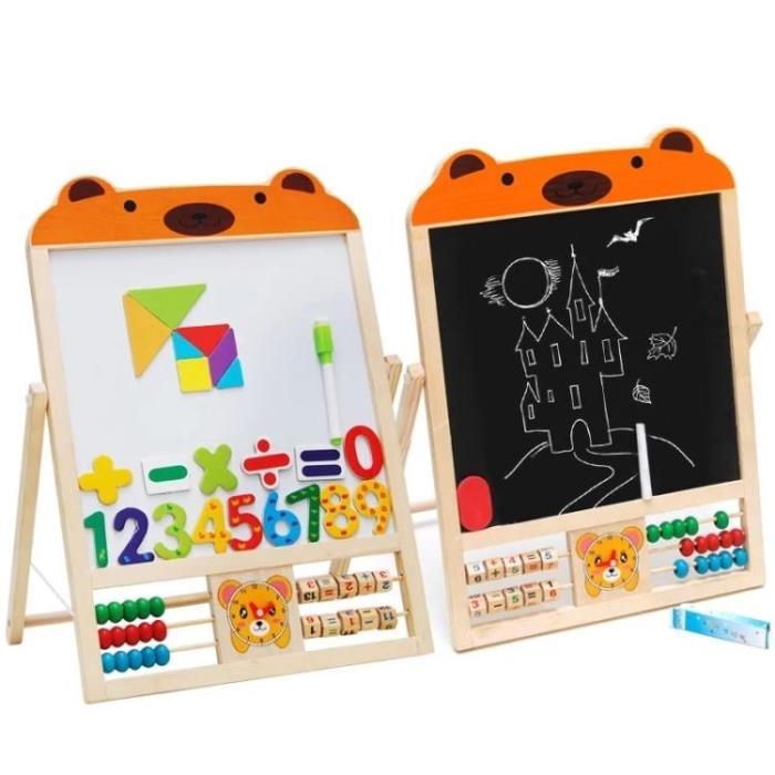 畫板雙面磁性黑板架家用實木畫畫塗鴉繪畫寫字板早教