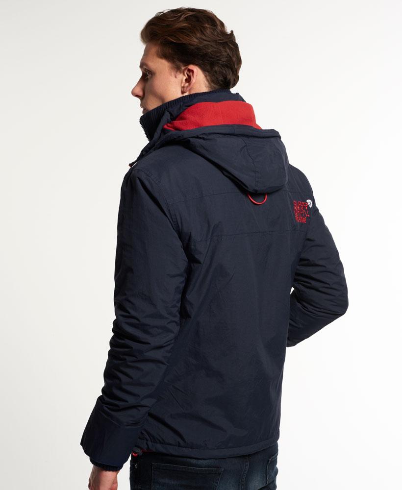 [男款] Outlet英國 極度乾燥 Pop Zip Hooded系列 男款 三層拉鍊 連帽防風衣夾克 海軍藍/叛逆紅 3