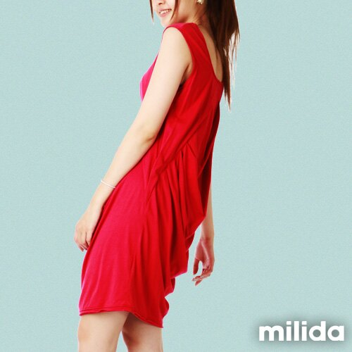 【Milida,全店七折免運】前後U領-立體抓皺剪裁洋裝 2