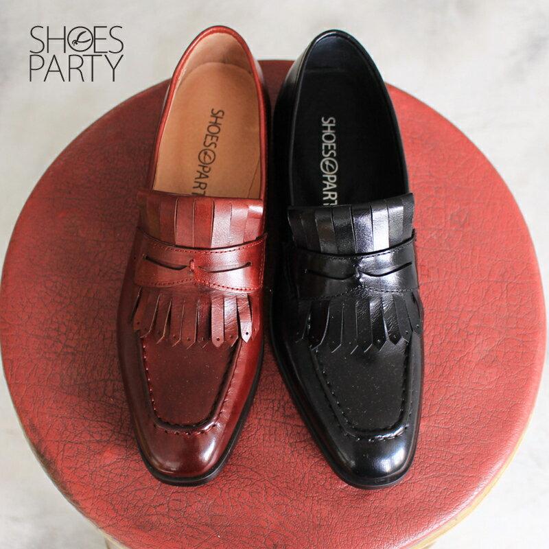 【F2-17914L】預購 真皮流蘇小方頭樂福鞋 Shoes Party