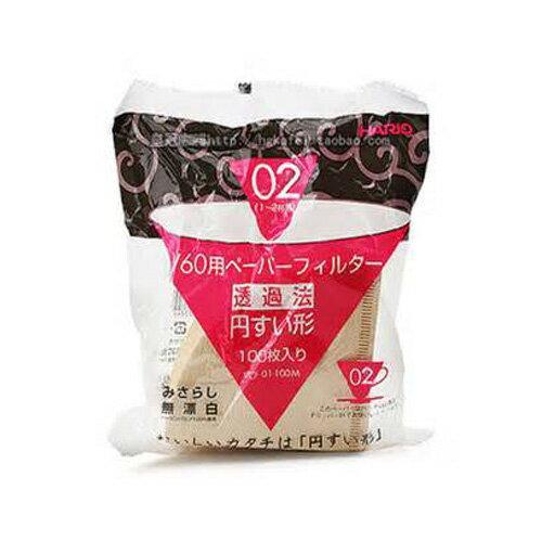 HARIO濾紙  VCF-02-100M☆V60手沖式錐型無漂白濾紙100入【3-4人份】