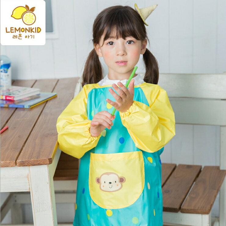Lemonkid◆可愛小花猴子點點前大口袋防水防髒環保罩衣畫畫衣 - 黃色