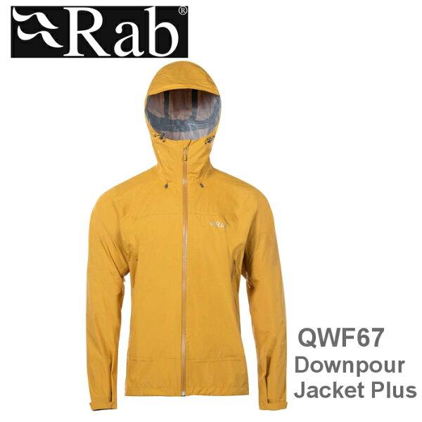 【速捷戶外】英國RABQWF67DownpourPlusJacket男高透氣連帽防水外套(狄戎黃),登山雨衣,防水外套