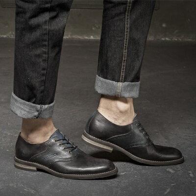 短靴真皮繫帶靴子-英倫復古做舊雕花男靴2色73kk86【獨家進口】【米蘭精品】