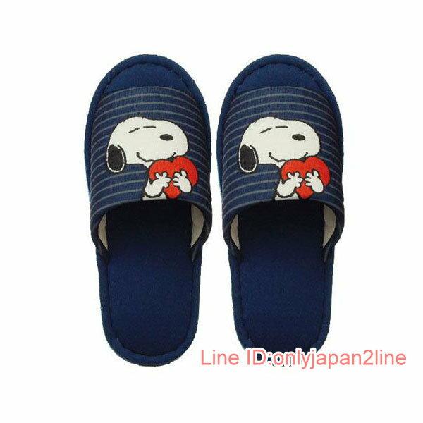 【真愛日本】17030900018 外縫室內拖鞋-SN抱愛心條紋藍HAA 史努比 SNOOPY 拖鞋 室內拖