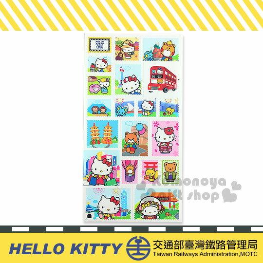 〔小禮堂〕Hello Kitty x 台鐵 造型貼紙《白.郵票.景點》新太魯閣號限定