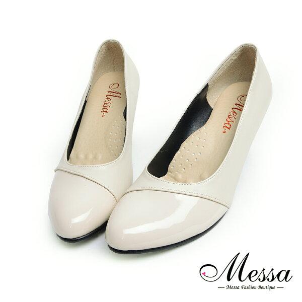 【Messa米莎專櫃女鞋】MIT法式典雅異材質內真皮高跟包鞋-米色